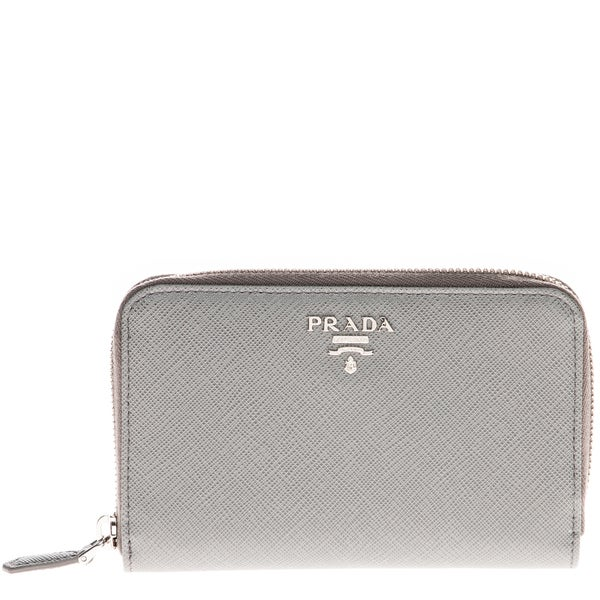 Prada Saffiano Triangle Leather Wallet Grey
