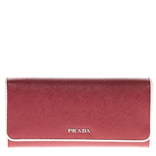 Prada Saffiano Flap Wallet with Contrast Piping