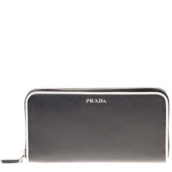 Prada Saffiano Zip-Around Wallet with Contrast Piping Black/ White