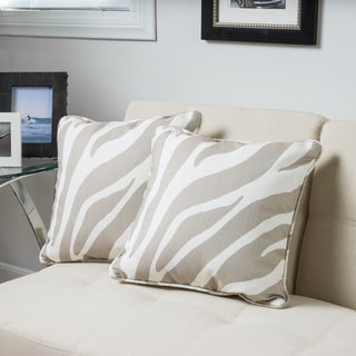 Christopher Knight Home Lori Square Zebra Print Fabric 18-inch Throw Pillow (Set of 2)
