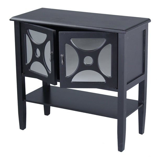2 Door Black Console Cabinet with Mirror Insert & Bottom Shelf