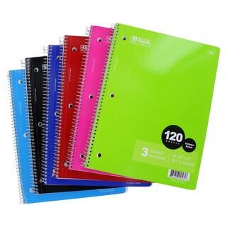 Bazic 3-Subject 120 Sheet Spiral Notebook