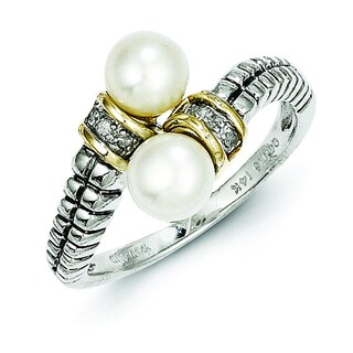 Shey Couture Sterling Silver and 14k Gold 6mm Freshwater Pearl and Diamond Bypass Ring