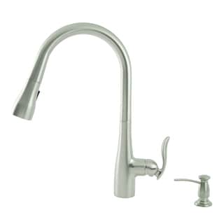Fontaine Majeste Brushed Nickel Single Handle Pull Down Faucet with Soap Dispenser