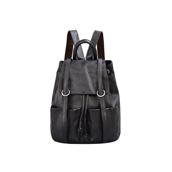 Mellow World Sarah Black Flapover Drawstring Backpack