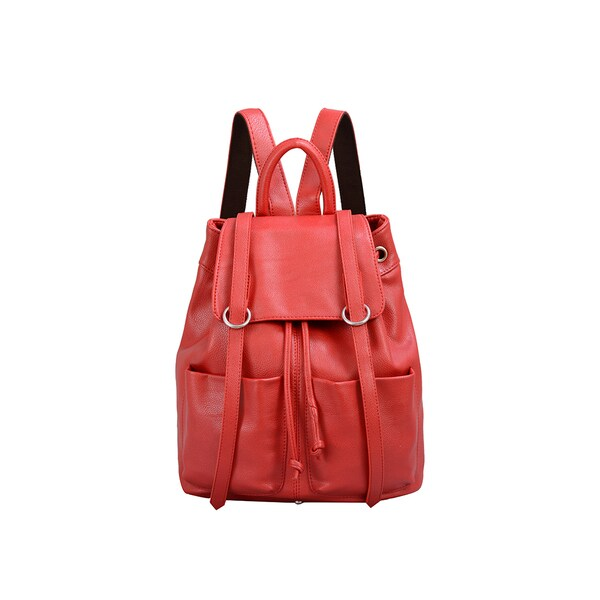 Mellow World Sarah Red Flapover Drawstring Backpack
