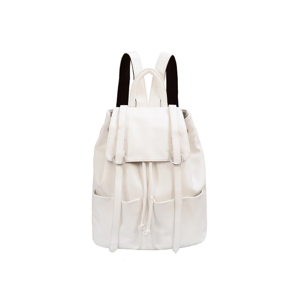 Mellow World Sarah White Flapover Drawstring Backpack