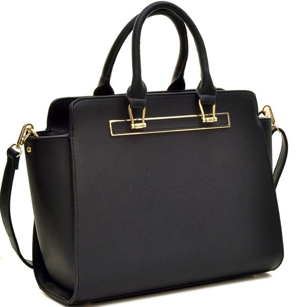 Dasein Faux Saffiano Leather Winged Satchel Handbag with Shoulder Strap