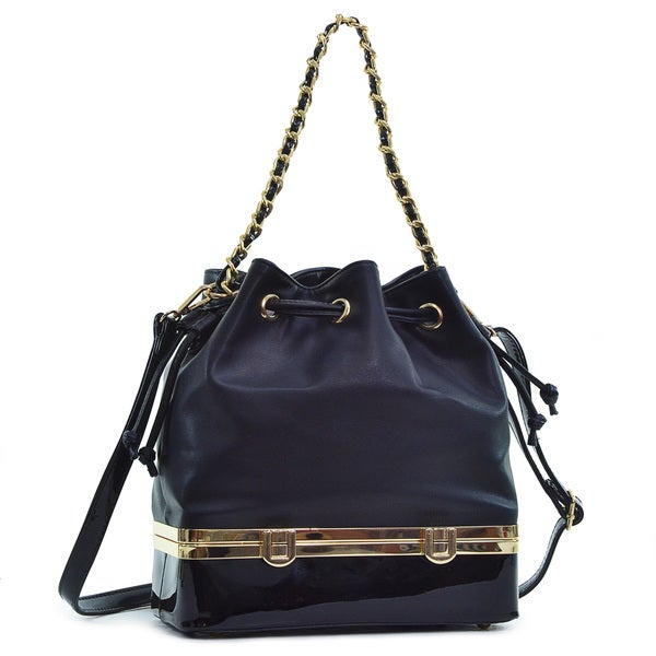 Dasein Faux Leather Bucket Bag Purse