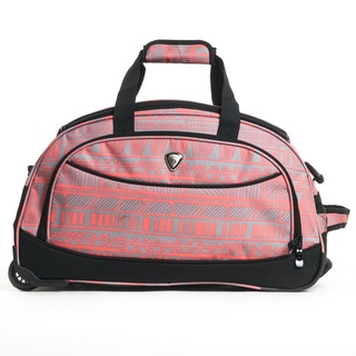 CalPak 'Plato' Bright Retro 21-inch Carry On Rolling Upright Duffel Bag Pink