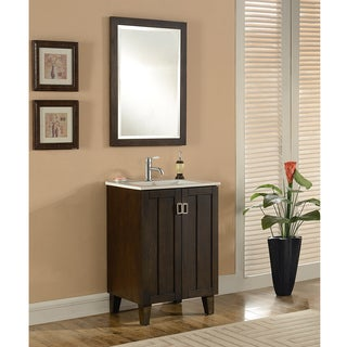 24-inch Single Sink Bathroom Vanity in Brown Finish with Matching Framed Wall Mirror