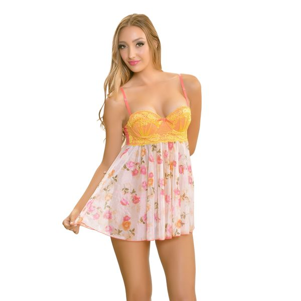 Popsi Lingerie White And Pink Mesh And Lace Rose Print Babydoll With Matching Panties