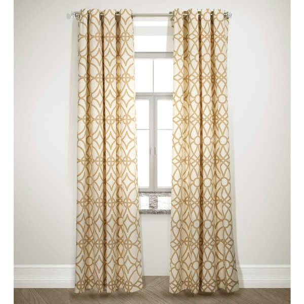 Grid Design Double Pannel Camel Drapes