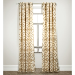 Grid Design Camel Curtain Panel Pair
