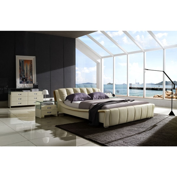Verona Modern Ivory Platform Bedroom Suite Solid Top