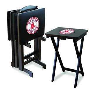 Official Licensed MLB Baseball TV Snack Trays with Storage Rack (Set of 4)