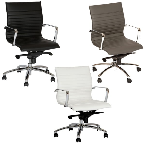Armen Living Hannah Black Leatherette/ Chrome Contemporary Swivel Office Chair