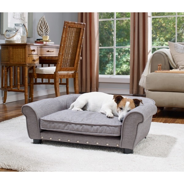 Brisbane Linen Tufted Grey Pet Sofa