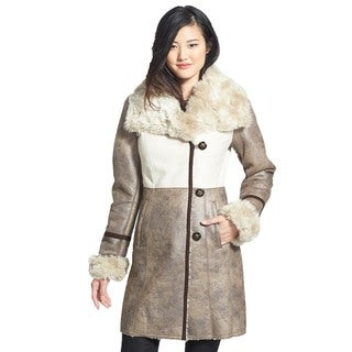 Laundry by Shelli Segal Taupe Beige Faux Shearling 3/4 Coat