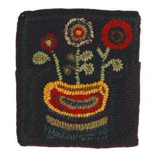 12-inch Primitive Flowers Hooked Wool Pillow