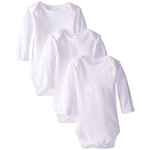 Spasilk White Long-sleeve Bodysuit (3 Pack)