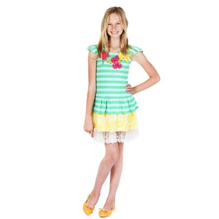 Jelly the Pug Girls' Summer Garden Striped Tiered Necklace Dress