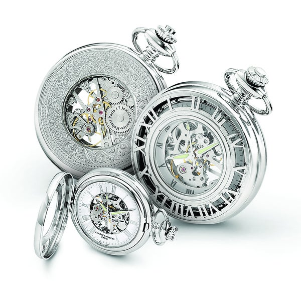 Charles Hubert Chrome over Stainless Steel Skeleton Case Pocket Watch