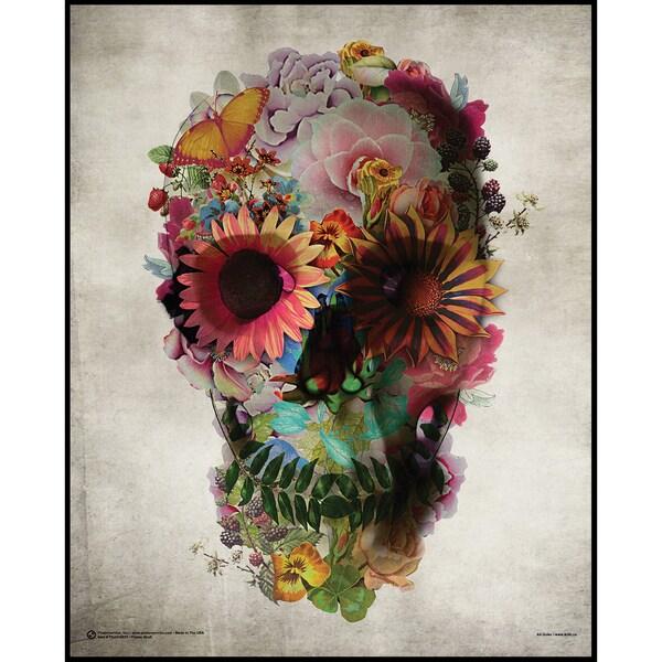 Flower Skull (16-inch x 20-inch) On a Woodmount
