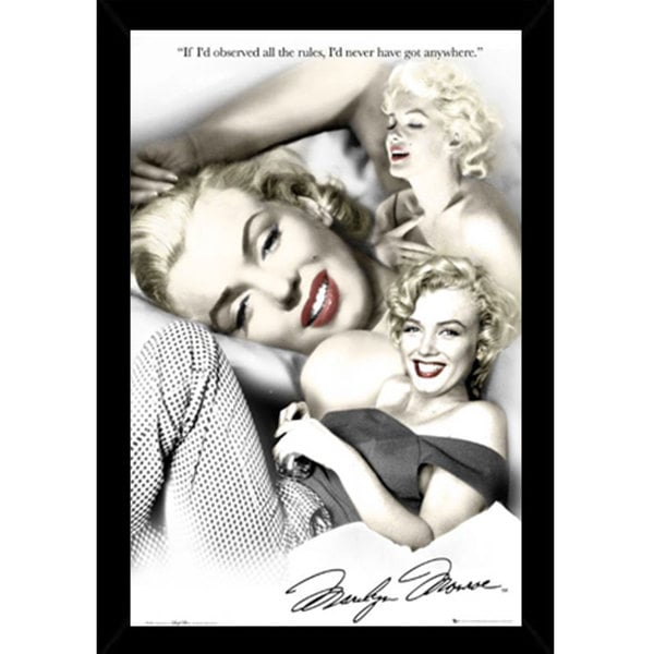 Marilyn Monroe - Rules Print (24-inch x 36-inch) with Contemporary Poster Frame