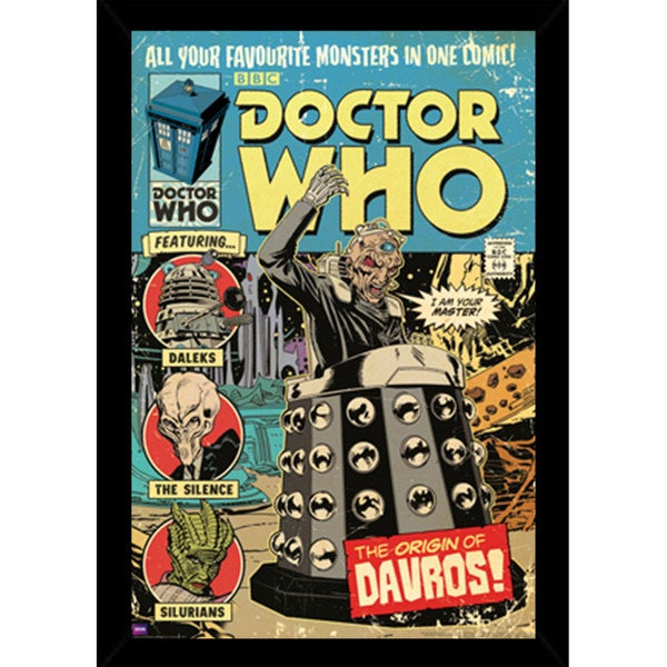 Doctor Who Comic Cover Print (24-inch x 36-inch) with Contemporary Poster Frame