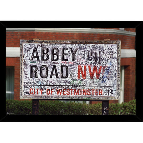 Abbey Road NW 8 Print (36-inch x 24-inch) with Contemporary Poster Frame