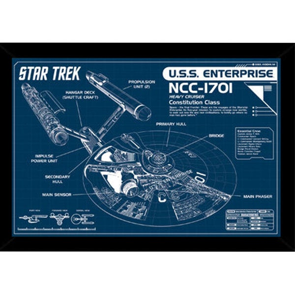 Star Trek - Enterprise Print (24-inch x 36-inch) with a Contemporary Poster Frame