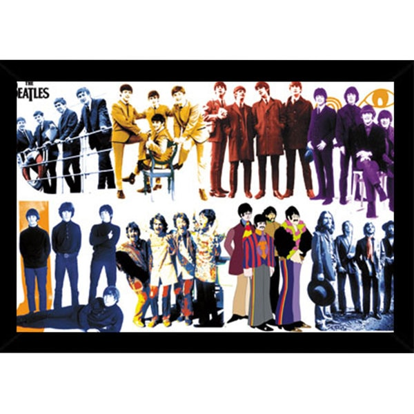 The Beatles - Timeline Print (22-inch x 34-inch) with Contemporary Poster Frame