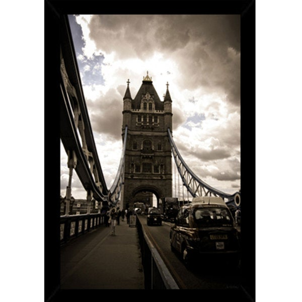 London Tower Bridge Print (24-inch x 36-inch) with Contemporary Poster Frame
