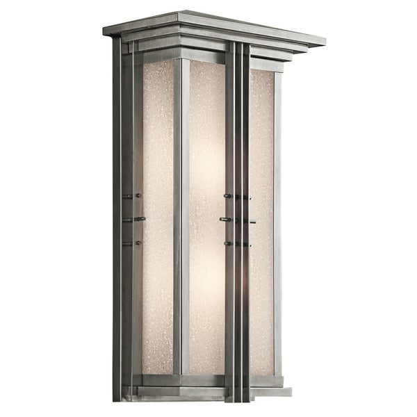 Kichler Lighting Portman Square Collection 2-light Brushed Stainless Steel Outdoor Wall Lantern