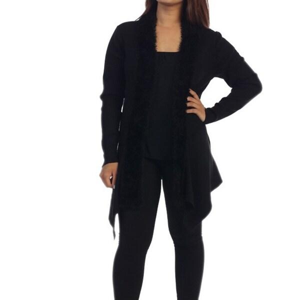 Ella Samani Women's Long Sleeve Faux Fur Sweater