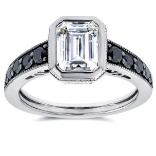 Annello 14k White Gold Forever Brilliant Emerald-cut Bezel-set Moissanite and 2/5ct TDW Black Diamond Ring