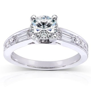 Annello 14k White Gold Forever Classic Round Moissanite and 1/2ct TDW Diamond Engagement Ring (H-I, I1-I2)