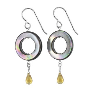 Ashanti Mother of Pearl and Citrine Gemstone Sterling Silver Handmade Earrings
