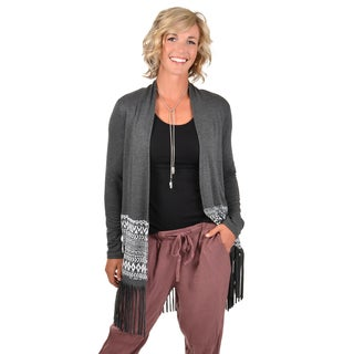 Timeless Comfort by Journee Women's Knit Fringed Cardigan