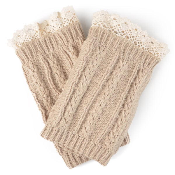 Journee Collection Women's Lace Cable Knit Boot Cuffs