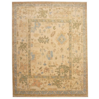 Herat Oriental Indo Hand-knotted Oushak Ivory/ Light Blue Wool Rug (8' x 10')