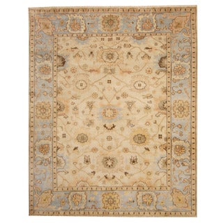 Herat Oriental Indo Hand-knotted Oushak Beige/ Light Blue Wool Rug (8' x 10')