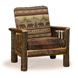Rustic Hickory Arm Chair *Bear Mt. Fabric* Amish Made USA