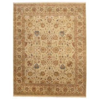 Herat Oriental Indo Hand-knotted Isfahan Beige/ Light Green Wool Rug (8' x 10')