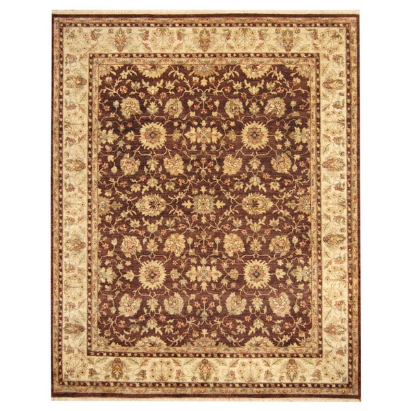 Pasargad Ny Persian Hand Knotted Wool Light Blue Ivory: Herat Oriental Indo Hand-knotted Oushak Wool Rug (8' X 10