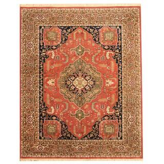Herat Oriental Indo Hand-knotted Heriz Red/ Light Green Wool Rug (8'1 x 10')