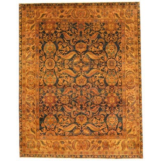 Herat Oriental Indo Hand-knotted Isfahan Green/ Gold Wool Rug (8' x 9'10)