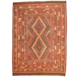 Herat Oriental Afghan Hand-woven Mimana Kilim Rust/ Black Wool Rug (7'8 x 10'4)