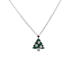 Sterling Essentials Silver Enameled Christmas Necklace